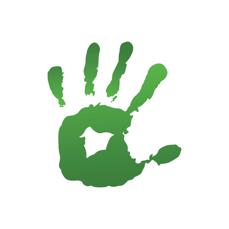 finger paint: Green hand print Illustration