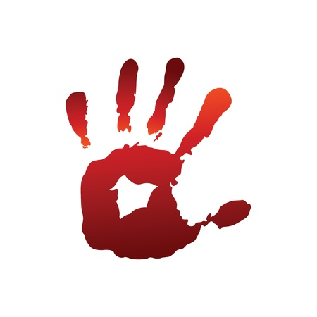 Red hand print Vector