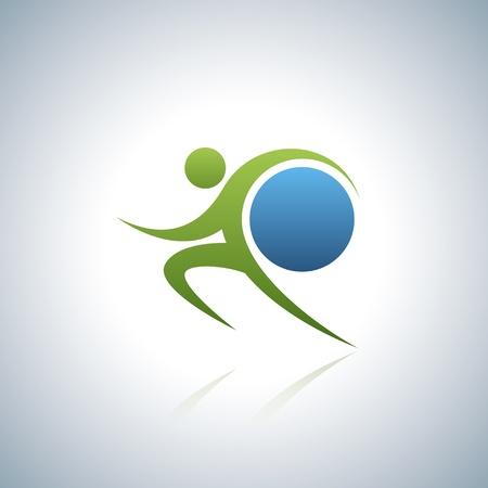 Sportman en wereld Vector Illustratie