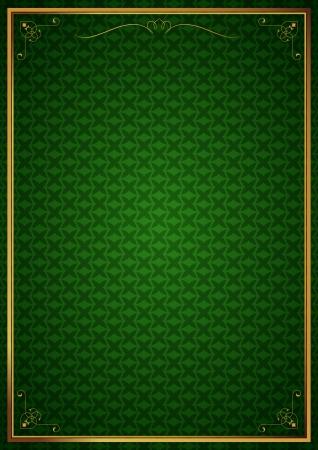 Corner patterns on green wallpaper Vector