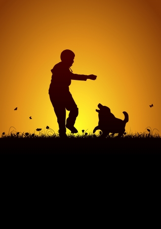 man shadow: Playing kid and dog