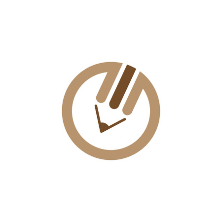 Brown pencil logo Vector