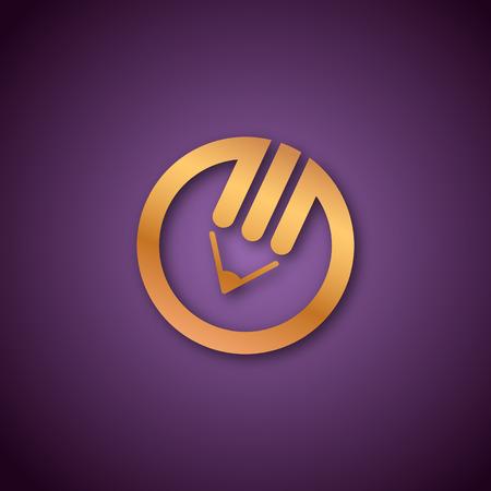 Pencil logo over purple Vector