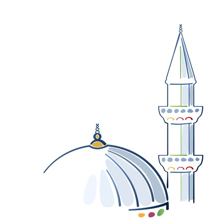 Colorful mosque drawing