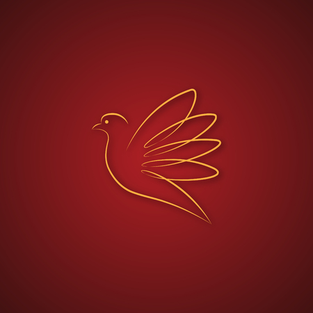 Dove logo over red Illustration