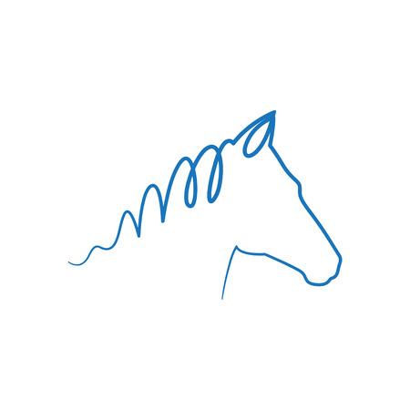 青い馬  イラスト・ベクター素材