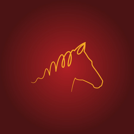 Horse logo over red