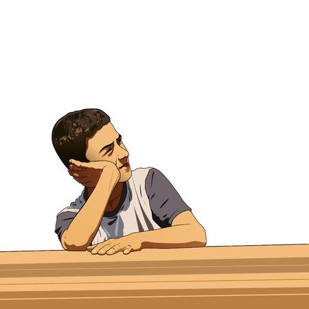 Thinking boy with white background Illustration