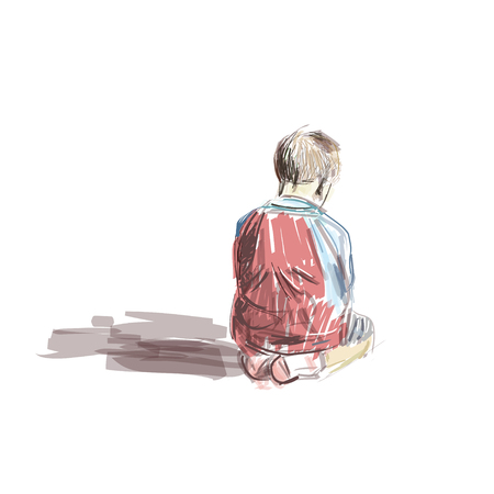 Boy sitting in the mosque  イラスト・ベクター素材