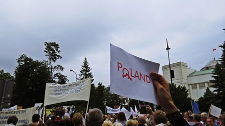 Protests in front of the Polish Parliament, May 26, 2018, Warsaw, Poland