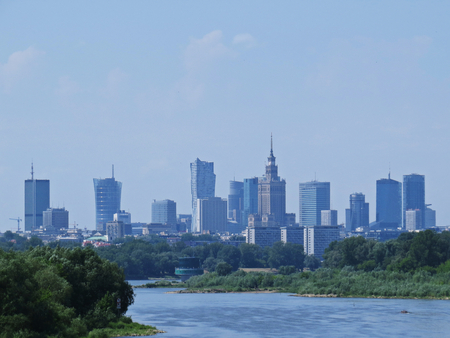 Warsaw Business City Skyscrapers Panorama as Seen from Vistula River Stock fotó