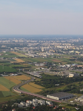 Warsaw City Seen from Plane Bird Perspective during a Day Stock Photo