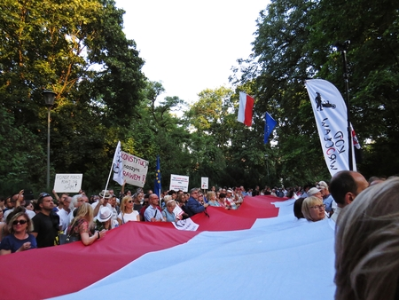 Protests in front of the Polish Senate and Parliament, July 24, 2018, Warsaw, Poland Editorial