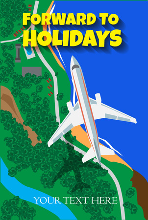 Vintage travel poster with airplane