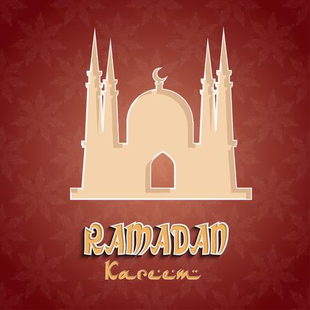 generoso: Fondo de Ramadán con la silueta de una mezquita. Ramadán Mes Generoso. Ilustración vectorial