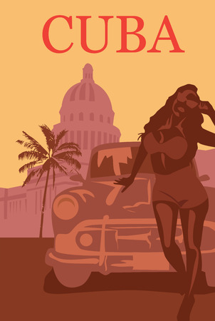 Welcome to Cuba retro poster. Illustration