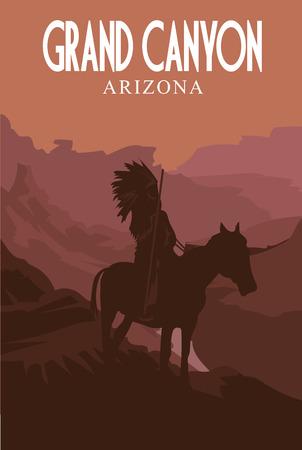 Grand Canyon National Park. Retro poster. Vector illustration.