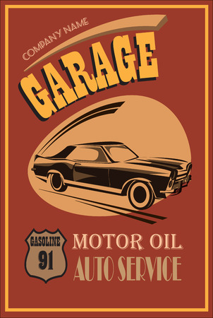Garage retro poster. Vector illustration.