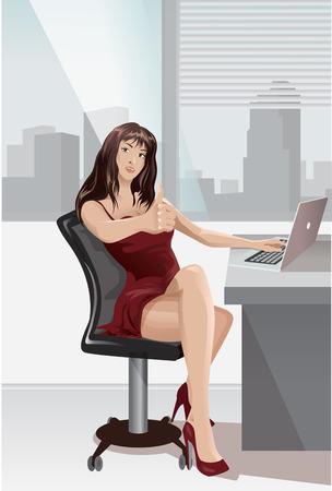 brunette: A brunette woman works at a desk.