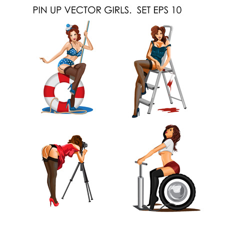 plus size girl: Vector collection of pin up girls Illustration