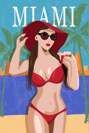 dirty girl: Woman in a swimsuit in Miami retro poster. Illustration