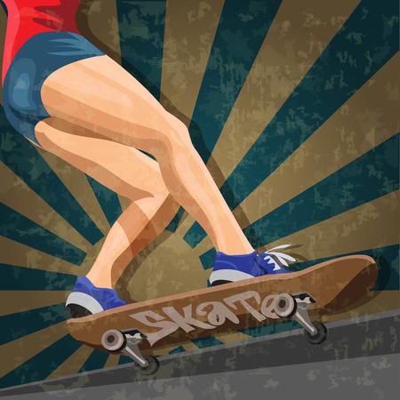 skatepark: Vector  of the woman that skating on skateboard.