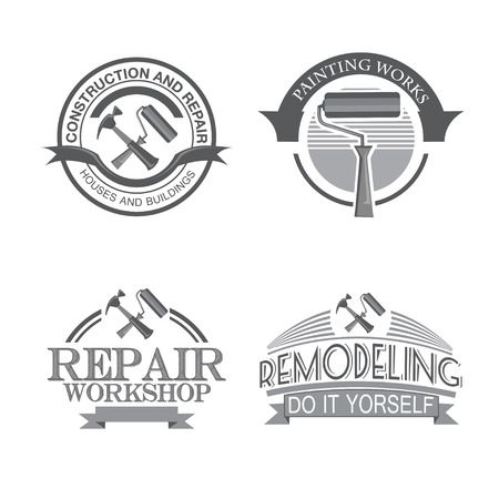 paint house: Home repair panting service  design labels set with black tools icons isolated  vector illustration