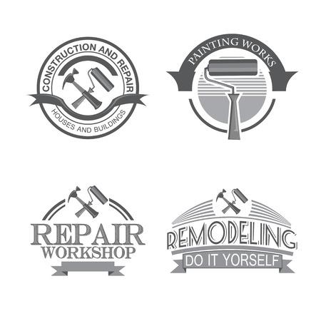 logo batiment: Étiquettes de conception de service haletant Accueil de réparation fixées avec des outils noirs icônes isolé illustration vectorielle Illustration