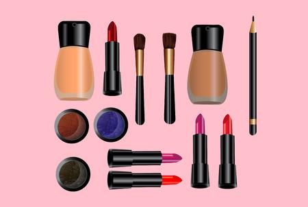 glamorous: Glamorous make-up icons set - vector.