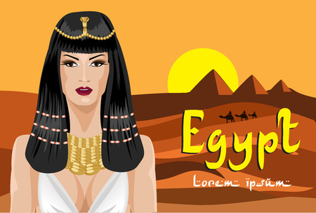 egyptian woman: Portrait of the  Egyptian woman. Background desert.