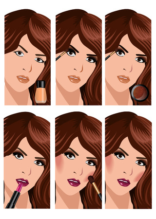 spa collage: Make-up beauty woman set of lips eyes face  vector illustration