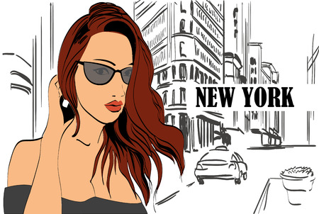 new york street: Illustration of a  woman  on the street New York city Illustration