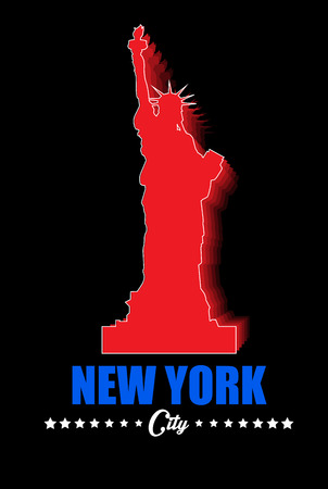 shilouette: Statue Of Liberty Vector red Shadows Silhouette