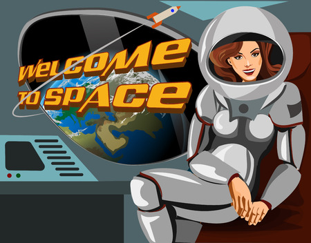 gravitational field: Beautiful woman astronaut in a spacesuit sitting   spaceship. Welcome to space.