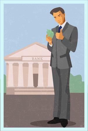 man holding money: Happy man holding money and showing ok. Illustration