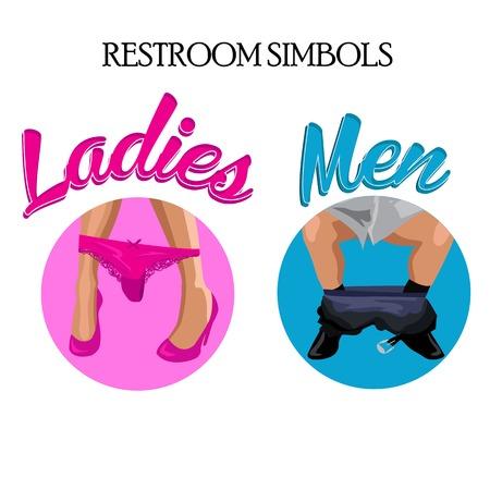 Retro funny wc restroom symbols