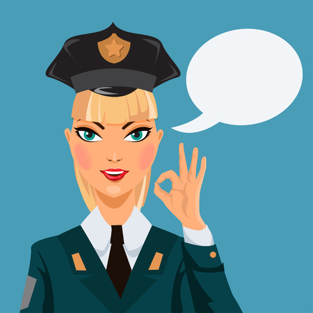 guard duty: Beautiful  police woman. Vector illustration Illustration