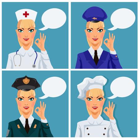 okey: Set of four female professionals Illustration