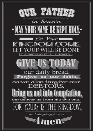 seigneur: La prière du Seigneur. La conception littérale. illustration vectorielle