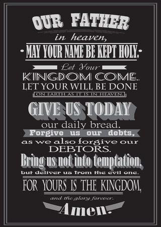 prayer: The Lords Prayer. Literal design. vector illustration