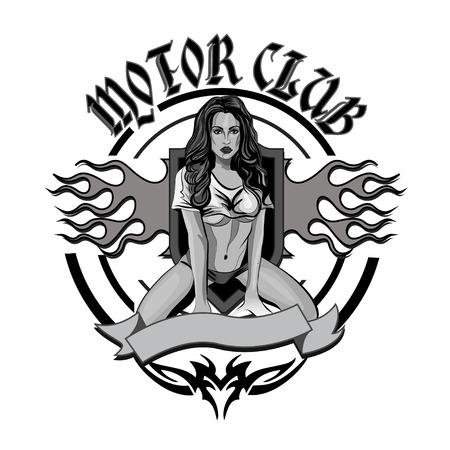 pin up vintage: Moto d'epoca garage motor club emblema con la ragazza sexy