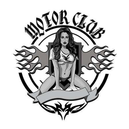 Vintage motorcycle garage motor club emblem with sexy  girl 版權商用圖片 - 43575391