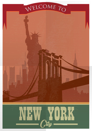 Travel to New York Poster. Vintage travel advertisement with New York City Иллюстрация