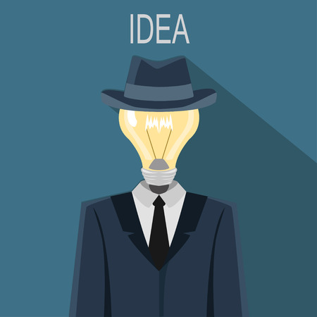 instead: Illustration of a man with  light bulb instead head