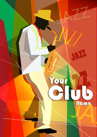 saxophonist: Vector illustration of a Jazz poster with saxophonist template Illustration