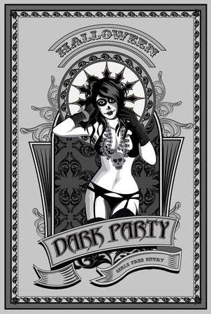 tattoo girl: Dark party. Muerto girl with  skull