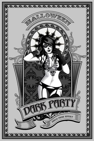 dia de muertos: Partido Oscuro. Chica Muerto con el cr�neo