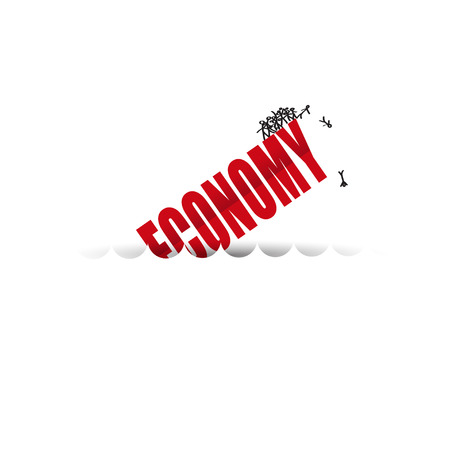 bailout: the economy is sinking  text on  white background. Illustration