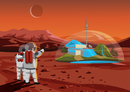 Space home on Mars. The base humans in space