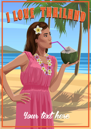 thailand beach: Pretty young woman, pink dress with coconut in hands on a tropical beach. Welcome to Thailand.